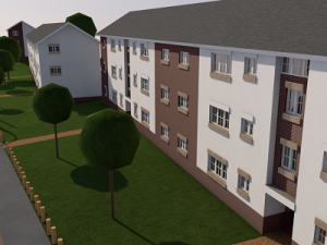 3D modelling image of row of houses