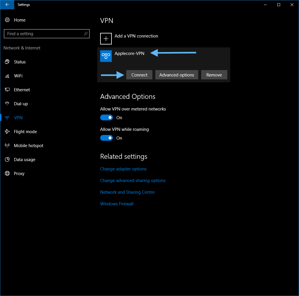 Connecting to an L2TP over IPsec VPN from Windows 10
