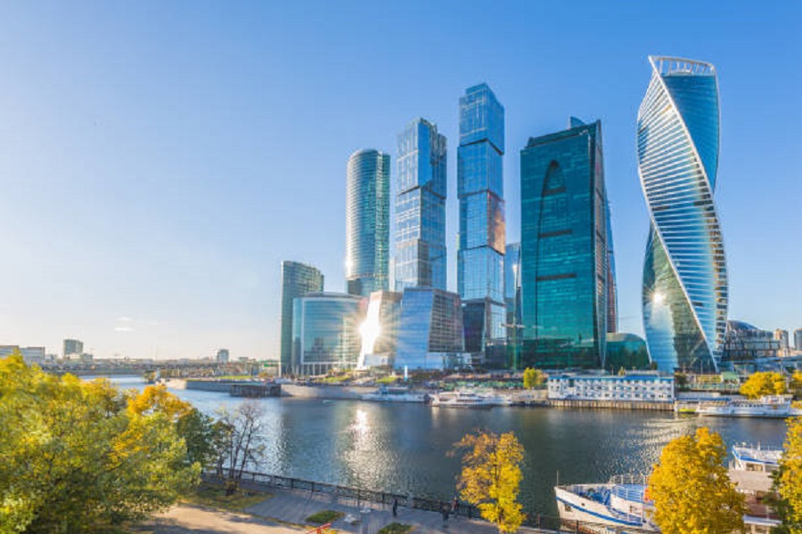 Moscow city skycraper, Moscow International Business Centre at autumn time with Moscow river, Russia